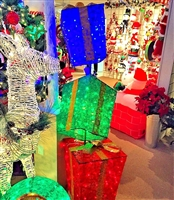 "72"" UL Electric 3-Stacked Glittering Colorful Snowflake Fabric Lantern Gift Boxes"