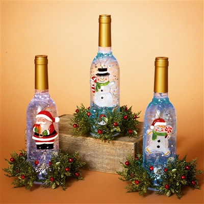 GERSON 11''H B/O LIGHTED ACRYLIC WINE BOTTLE W/SNOWMAN & FLORAL ACCENT (SET OF 3)