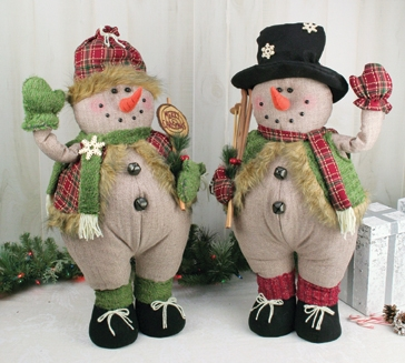 Hanna's Scarved Snowman Plump Stander 26'' (Set of 2)