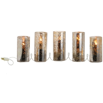 "RAZ IMPORTS 78"" ANTINQUE LIGHTED BEADED PILLAR CANDLE STRAND"