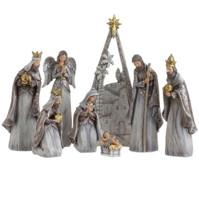 "RAZ IMPORTS 12.5"" NATIVITY (Set of 8 figures) Silver Color SOLD OUT!"