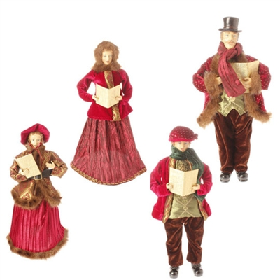 "RAZ IMPORTS 17.5"" CAROLER  (Set of 4) MERRY MISLETOE COLLECTION"