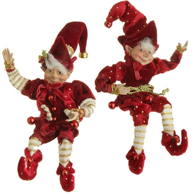 "RAZ IMPORTS 10"" POSABLE ELF ORNAMENT RED AND BURGUNDY (Set of 2) SOLD OUT!!!"