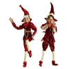 "RAZ IMPORTS 16"" POSABLE ELF ORNAMENT RED & BURGUNDY (SET OF 2)"