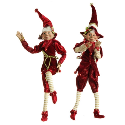 "RAZ IMPORTS 16"" POSABLE ELF ORNAMENT RED & BURGUNDY (SET OF 2) SOLD OUT NOT AVAILABLE"