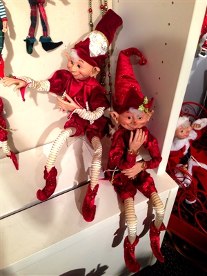 "RAZ IMPORTS 30"" POSABLE ELF RED AND BURGUNDY"
