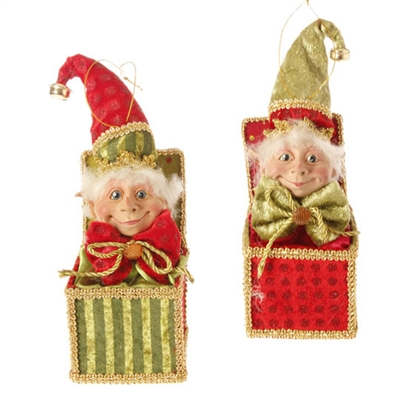 "RAZ IMPORTS 9"" ELF JACK-IN-THE-BOX ORNAMENT (Set of 2) SOLD OUT FOR SEASON"