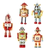 RAZ IMPORTS 5 INCH GLASS ROBOT ORNAMENTS (Set of 5)