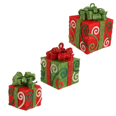 "RAZ IMPORTS LARGE 14"" LIGHTED PRESENTS (Set of 3)"