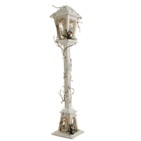 "RAZ IMPORTS 39.5"" LIGHTED WHITE WOOD LAMP POST"