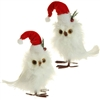"RAZ IMPORTS 7.5"" FEATHERED OWL WITH SANTA HAT (Set of 12)"