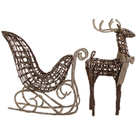 "RAZ IMPORTS 29.5"" GLITTERED SLEIGH WITH DEER"