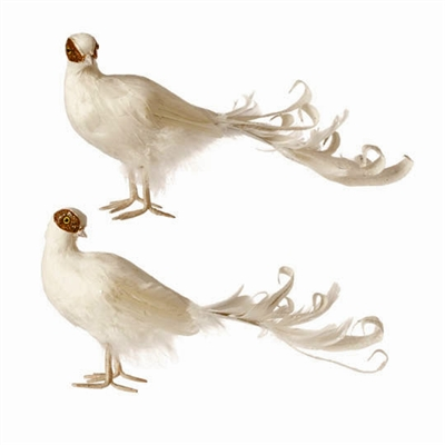 "RAZ IMPORTS 15"" FEATHERED PEACOCK  (Set of 4) Gilded Christmas"