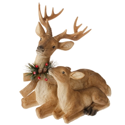 "RAZ IMPORTS 16.5"" SITTING DEER TAN (Set of 2)"