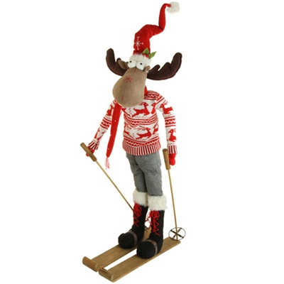 "RAZ IMPORTS 36.5"" POSABLE SKIING MOOSE (SOLD OUT FOR SEASON)"