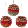 "RAZ IMPORTS 4"" FEATHERED BALL ORNAMENT (SET OF 3)"