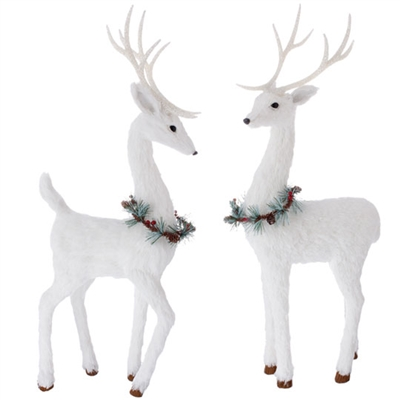 "RAZ IMPORTS 24"" WHITE DEER (Set of 2)"