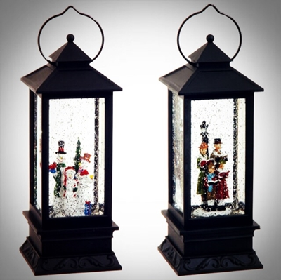 "RAZ IMPORTS 10.5"" LIGHTED CAROLERS AND SNOWMEN WATER GLOBE LANTERN (SET OF 2)  SOLD OUT  FOR SEASON"