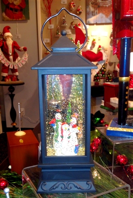 "RAZ IMPORTS 10.5"" LIGHTED SNOWMAN WATER GLOBE LANTERN ***SOLD OUT***"
