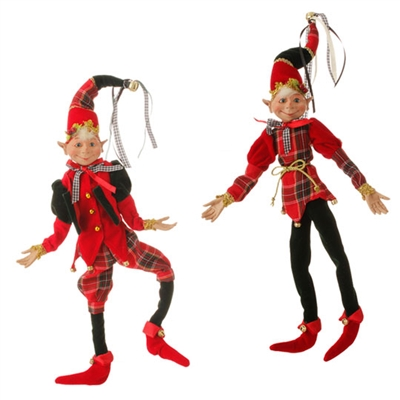 "RAZ IMPORTS 16"" POSABLE ELF ORNAMENT(Set of 2)"