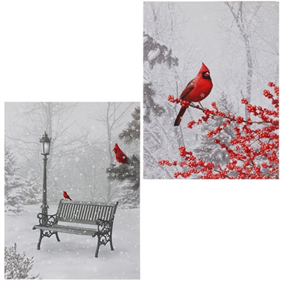 "RAZ IMPORTS 24"" LIGHTED CARDINAL PRINT CARDINAL ON A HOLLY LIMB"