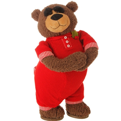 "RAZ IMPORTS 17"" LONG JOHN BEAR RED"