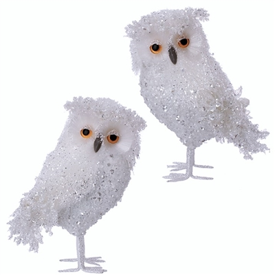 "Raz Imports 11.5"" Glittered Sequined Iced Owl (Set of 2)"