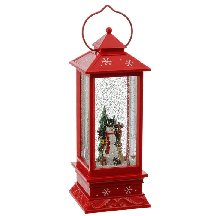 """Lighted Holographic Two Snowman Carolers Christmas Outdoor: RAZ IMPORTS 11"""" LIGHTED SNOWMAN LANTERN WATER GLOBE"""