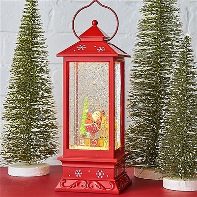 Raz Imports 11'' Waterglobe Red Lantern Santa & Reindeer Joy SOLD OUT NOT AVAILABLE