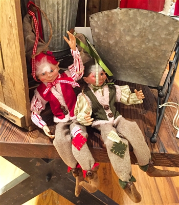 "RAZ IMPORTS 16"" FARMER POSABLE ELF ORNAMENT (Set of 2)"