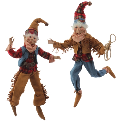 "RAZ IMPORTS 16"" POSABLE COWBOY ELF ORNAMENT (Set of 2)"