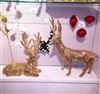 RAZ IMPORTS 25'' GOLD FLAT RHINESTONE DEER (SET OF 2)