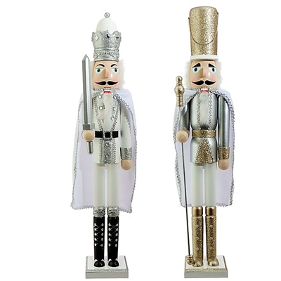"Raz Imports 32""  Silver and Gold Nutcrackers (Set of 2)"