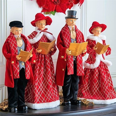 "Raz Imports 8.5"" Christmas Carolers Red and Black (Set of 4)"