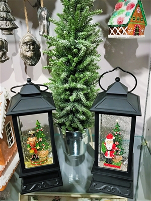 "Raz Imports 11"" Santa and Nutcracker Lighted Black Snow Globe Water Lantern (Set of 2)"