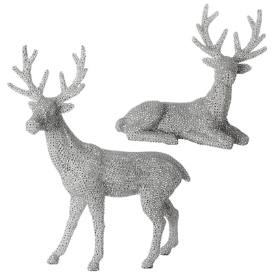 Raz Imports 20'' New Silver Stone Deer (Set of 2)