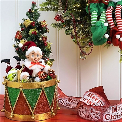 "Raz Imports 18"" Drum with Elf ""Santa Supply Collection"" RAZ3715507"