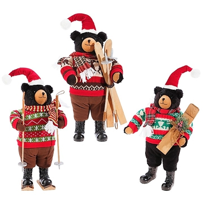 Raz Imports 19'' Plush Skiing Bears (Set of 3) RAZ3740500  ITEM OUT OF STOCK AND NOT AVAILALBE