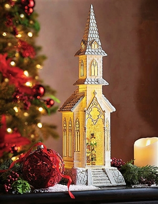 "Raz Imports 18"" Caroler Lighted Water Church SOLD OUT!"