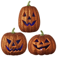 "RAZ IMPORTS 10.5"" LIGHTED GLITTERED JACK O' LANTERN PUMPKIN (Set of 3)"