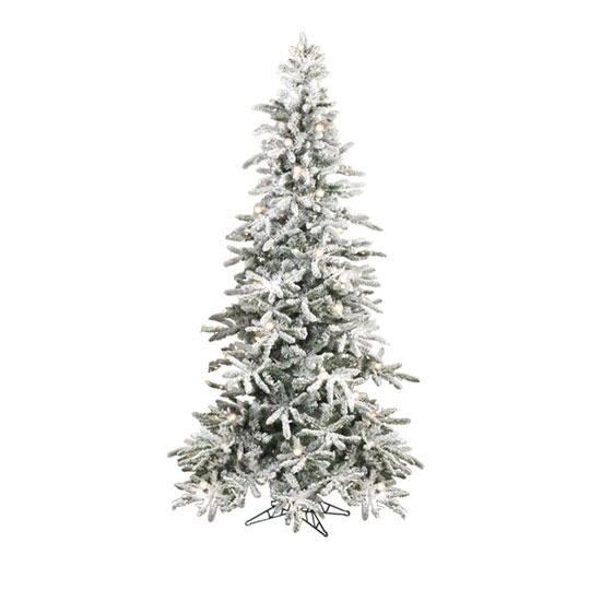 Raz Imports 75 Pre Lit Flocked Slim Tree With Over 400 Lights