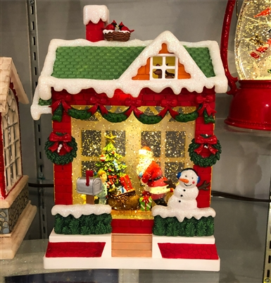 "ROMAN 10""LED HOUSE W/SANTA SWIRLDOME B/O W/O BATTERY"