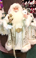 Season's Design 32'' White & Gold Christmas Santa