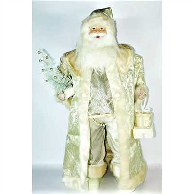 Season's design 36IN Ivory Santa Holding Gift Boxes & Tree