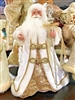 Season's Design 18'' PVC Cone Christmas White & Gold Santa Claus