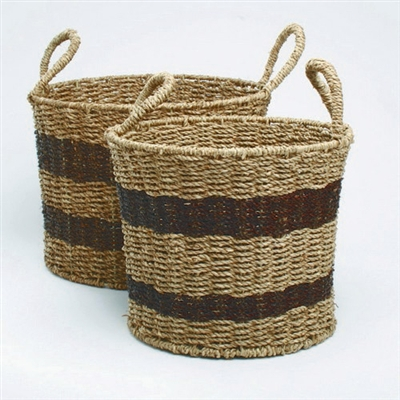 Tag Two Tone Seagrass Round Baskets (Set of 2)