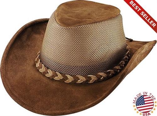 Brown Breezer Leather Cowboy Hats  USA Made By Henschel 32a4a989a9f5