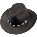Henschel Black Leather Western Hat With Silver Concho