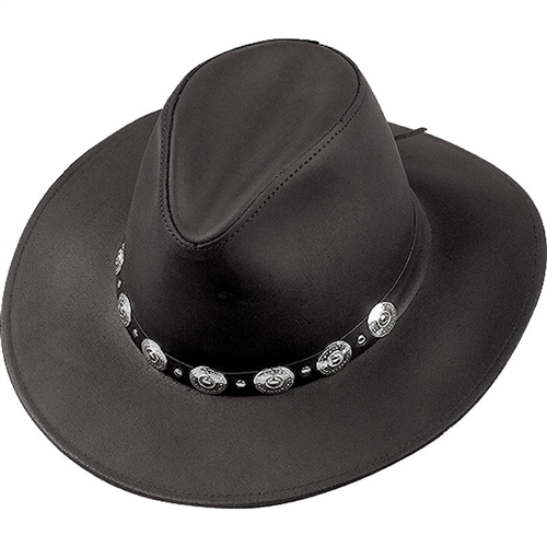 3a6881e7c91 Henschel Black Leather Western Hat With Silver Concho View Larger Photo  Email ...