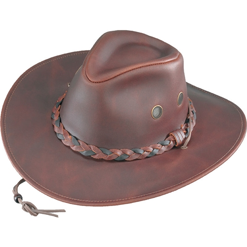 1795f99a8d6 Brown Crushable Western Leather Hats, USA Made By Henschel